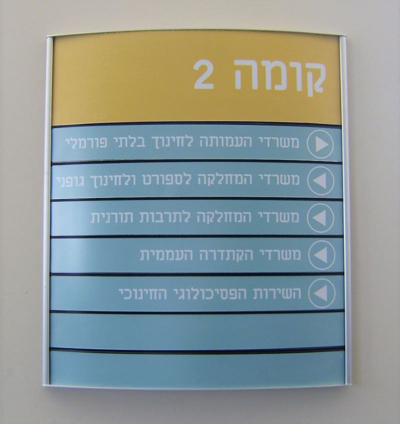 Aluminum Curved Directory Sign